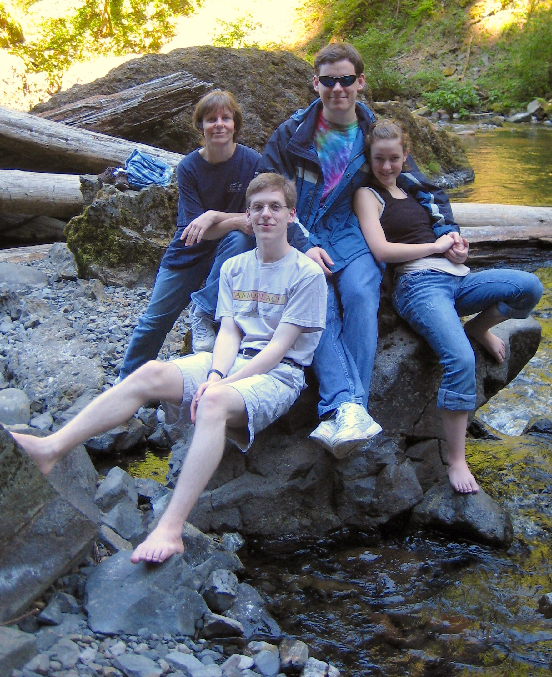Stephanie Nystrom with her children at Wahclella Falls